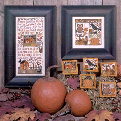 Prairie Schooler - Autumn Leaves-Prairie Schooler - Autumn Leaves, Fall, pumpkin, owl, house, cross stitch
