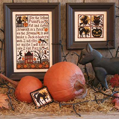 Prairie Schooler - Pumpkin Patch-Prairie Schooler - Pumpkin Patch, fall, pumpkins, leaves, black cats, Halloween, cross stitch