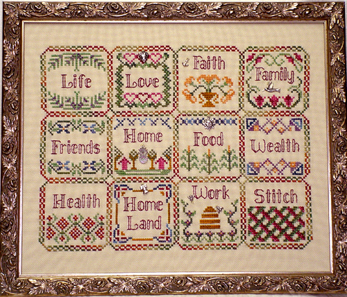 Handblessings - Blessings Sampler Quilt - Cross stitch Chart with Charms
