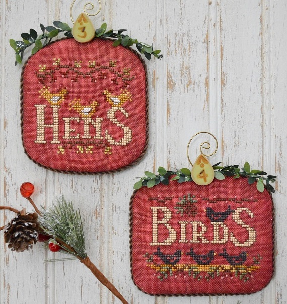 Hands On Design - 12 Days - Part 2 - Hens & Birds-Hands On Design - 12 Days - Part 2 - Hens  Birds, 12 Day of Christmas, Christmas ornaments, cross stitch, true love,