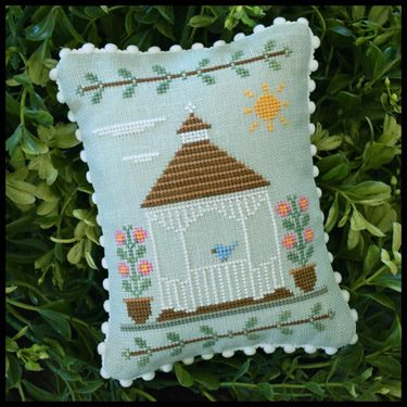 Country Cottage Needleworks - Main Street - Part 3 The Gazebo-Country Cottage Needleworks - Main Street - Part 3 The Gazebo, park, town, flowers, cross stitch
