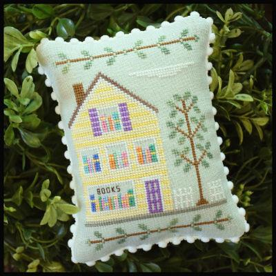 Country Cottage Needleworks - Main Street - Part 2 Bookstore-Country Cottage Needleworks - Main Street - Bookstore, town. houses, cross stitch, books,