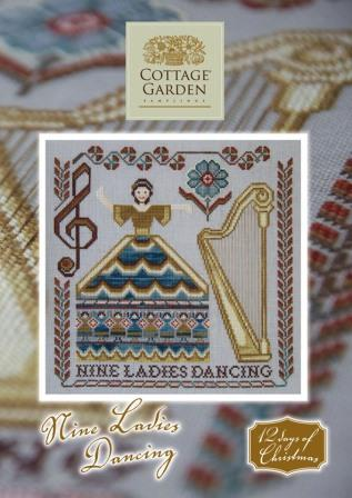 Cottage Garden Samplings - 12 Days of Christmas - #09 - Nine Ladies Dancing