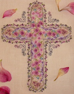 Country Garden Stitchery - Floral Cross - Cross Stitch Pattern