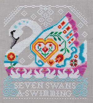 Cottage Garden Samplings - 12 Days of Christmas - 7 Swans A-Swimming - Cross Stitch Pattern