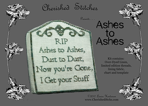 Cherished Stitches - Ashes to Ashes Kit-Cherished Stitches - Ashes to Ashes Kit, headstone, tombstone, cross stitch, stash,