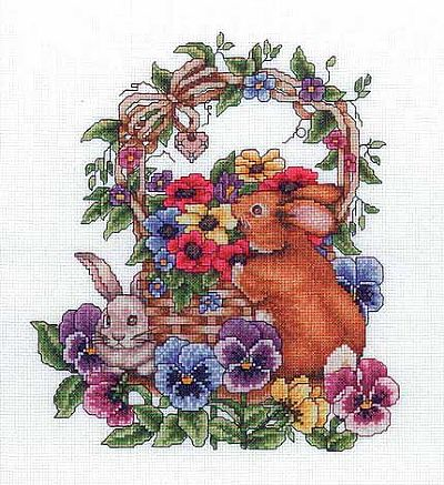 Bobbie G. Designs - Spring Bunnies - Cross Stitch Pattern