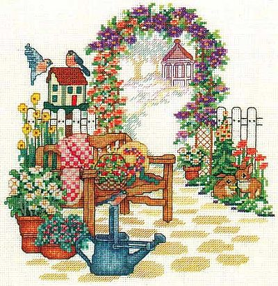 Bobbie G. Designs - Country Garden Bench - Cross Stitch Pattern