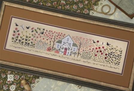The Drawn Thread - The Autumn Garden - Cross Stitch Pattern-The Drawn Thread, The Autumn Garden, Fall, house, fall leavesm pumpkin, crows, flowers, Cross Stitch Pattern