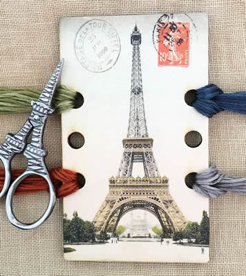 Whimsical Edge Designs - Eiffel Tower Vintage Postcard Thread Keep