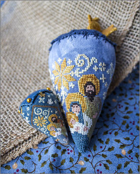 Erica Michaels Needleart Designs - Nativity Berry - Silk Berry-Erica Michaels Needleart Designs - The Berry Collection - Nativity Berry, Christmas, Jesus, birth of Christ, cross stitch