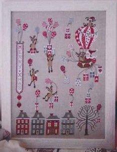Cuore e Batticuore - Santa Claus Montgolfier-Cuore e Batticuore - Santa Claus Montgolfier, Merry Christmas, Santa Claus, presents, hot air balloon, cross sttich