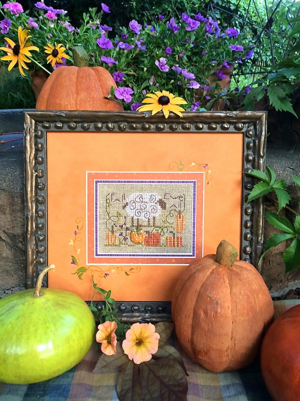 Shepherd's Bush - Fall Ewe All - Cross Stitch Pattern w/Pumpkin Button