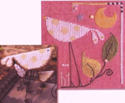 SamSarah Design Studio - The Flock - Part 008 of 12 - Yellow Polka Dot Bird - Cross Stitch Pattern with Embellishments