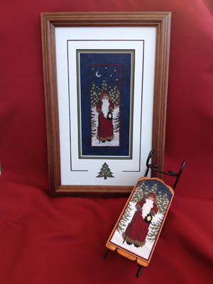 Foxwood Crossings - Twilight Santa Sled-Foxwood Crossings, Twilight Santa Sled, Santa Claus, Christmas, winter, snow, pine trees, Cross Stitch Chart