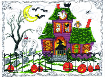 Imaginating - Halloween House - Cross Stitch Pattern