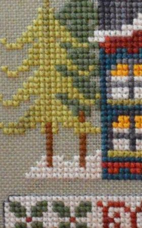 Hands On Design - Home for the Holidays Neighborhood - Wreath House - Cross Stitch Pattern