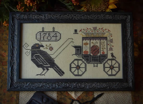 Plum Street Samplers - Halloween Delivery - Cross Stitch Pattern-Plum Street Samplers, Halloween Delivery, cros, pumpkins, Halloween, fall, 1784, wagon, carriage, Cross Stitch Pattern