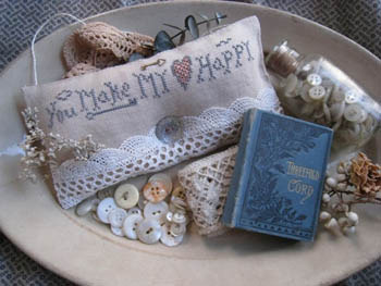 Homespun Elegance - Tokens of Affection Collection - You Make My Heart Happy - Cross Stitch Pattern