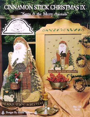 Homespun Elegance - Cinnamon Stick Christmas IX - Santa & the Merry Animals - Cross Stitch Pattern