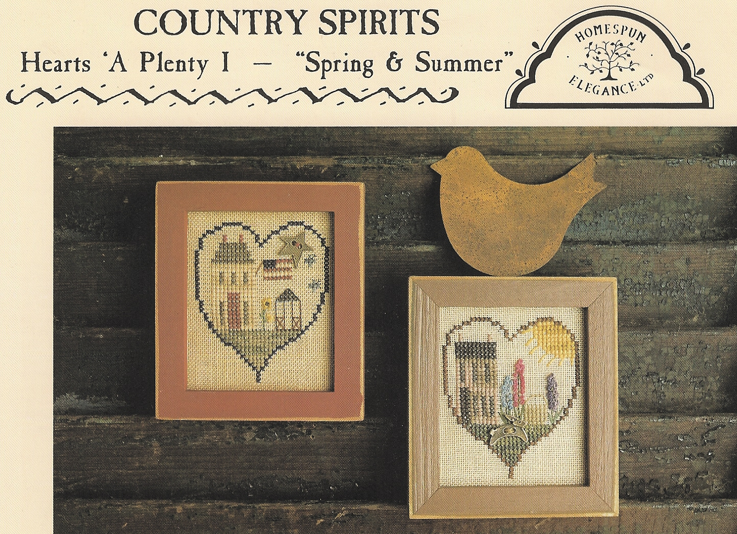 Homespun Elegance - Country Spirits Collection - Hearts A Plenty I - Spring and Summer  Cross Stitch Pattern