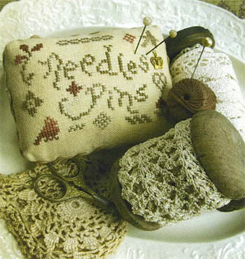Homespun Elegance - Needles and Pins Pincushion - Cross Stitch Pattern