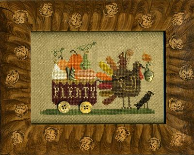 Homespun Elegance - Country Spirits Collection - Delivering Plenty -Homespun Elegance - Delivering Plenty - Country Spirits Collection, Fall, Thanksgiving, turkey, cross stitch