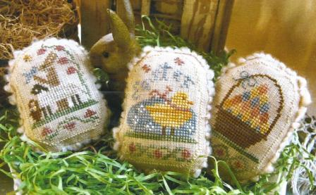 Homespun Elegance - Plain & Fancy Collection - Spring Eggs V - Cross Stitch Patterns-Homespun Elegance - Plain  Fancy Collection - Spring Eggs V - sheep, rabbit, chick, Easter, Easter basket, Easter eggs, Cross Stitch Patterns