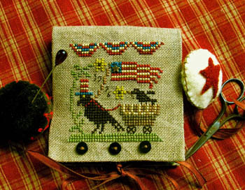 Homespun Elegance - Country Spirits Collection - Uncle Sam Crow Needle Case & Scissor Fob-Homespun Elegance, Country Spirits Collection, Uncle Sam Crow Needle Case & Scissor Fob, patriotic, crows, 4th of July,  American flag, Cross Stitch Chart