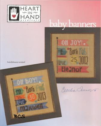 Heart in Hand Needleart - Baby Banners - Cross Stitch Patterns