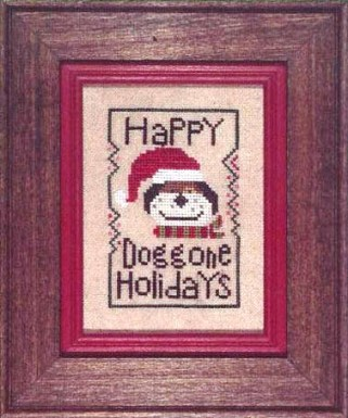 Heart in Hand Needleart - Wee One - Holiday Hound - Cross Stitch Pattern-Heart in Hand Needleartm Wee One, Holiday Hound, Christmas ornament, dog, santa claus hat, Cross Stitch Pattern