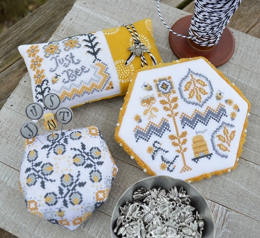 Hands On Design - Just Bee-Bee More-Hands On Design - Just Bee Bee More, bee hive, pin cushion, bees, charms, cross stitch
