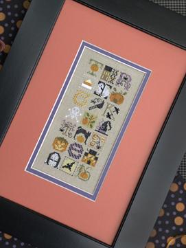 The Drawn Thread - Halloween Jumble - Cross Stitch Pattern-The Drawn Thread, Halloween Jumble, trick or treat, Haloween night, sampler, pumpkin, black cat, skull and cross bones, alphabet, witch's hat, spider, spider webs, crow, candy corn, Cross Stitch Pattern