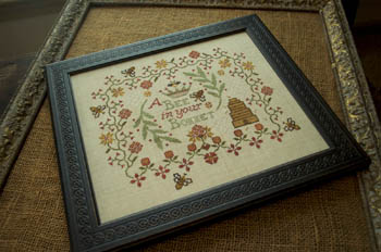 Summer House Stitche Workes - A Bee in Your Bonnet - Cross Stitch Pattern-Summer House Stitche Workes, A Bee in Your Bonnet, sampler, beehive, Cross Stitch Pattern