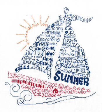 Imaginating - Let's Sail into Summer-Imaginating, Lets Sail into Summer, sailboat, summertime, ocean, beach, seagull, sea shore, Cross Stitch Chart