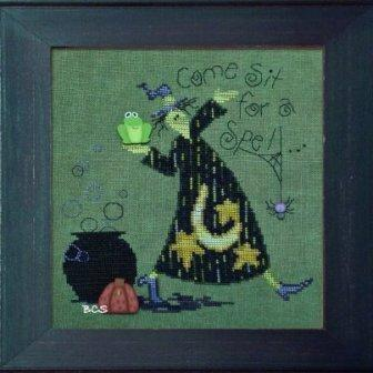 Just Another Button Company - Art To Heart - Sit A Spell - Cross Stitch Pattern with Buttons