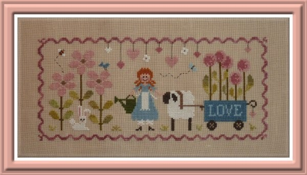 Jardin Prive - Lili au Jardin-Jardin Prive - Lili au Jardin,  Lili in the garden, flowers, sheep, girl, cross stitch