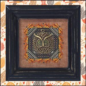 Just Nan - Tree Hollow Hoot with Major Hoot Charm - Cross Stitch Pattern-Just Nan, Tree Hollow Hoot with Major Hoot Charm, owl, bird, fall, bird's nest, Cross Stitch Pattern