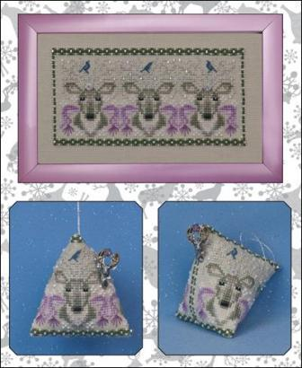 Just Nan - Oh Deer! - Cross Stitch Pattern-Just Nan, Oh Deer!, animals, humbug, pin cushion, ornament, Cross Stitch Pattern