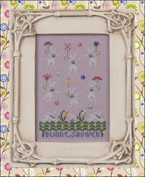 Just Nan - Just Dropping In - Part 2 - Bunny Shower - Cross Stitch Pattern-Just Nan, Just Dropping In, Part 2, Bunny Shower, spring, rabbits, Cross Stitch Pattern