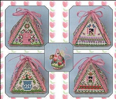 Just Nan - Summer Mouse in a House & Embellishments � Limited Edition-Just Nan, Summer Mouse in a House  Embellishments, Limited Edition, cross stitch, needle pocket, strawberry mouse,