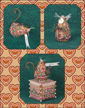 Just Nan - 2014 Ornament Shop - Gingerbread Angel Mouse & Embellishments - Limited Edition Ornament