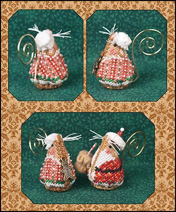 Just Nan - 2017 Ornament Shop - Gingerbread Mrs. Santa Mouse Ornament - Limited Edition Design-Just Nan - 2017 Ornament Shop - Gingerbread Mrs. Santa Mouse Ornament - Limited Edition Design, Christmas, mouse, Christmas tree ornament, cross stitch, Santa Claus,