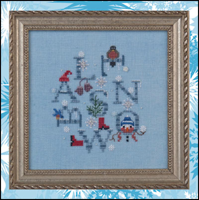 Just Nan - Snowball Day - Cross Stitch Pattern with Beads and Flower Buttons