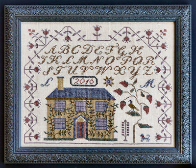 La-D-Da - Aunt Amy's House-LaDDa - Aunt Amys House, sampler, house, flowers, birds, cross stitch