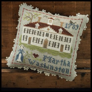 Little House Needleworks - The Early Americans - Part 3 - Martha Washington-Little House Needleworks - The Early Americans, Martha Washington, history, historic ladies, cross stitch, american flag,