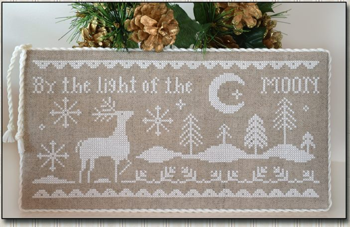 Little House Needleworks - Moonlight - Cross Stitch Pattern-Little House Needleworks, Moonlight, By the light of the moon, Santa Claus, Christmas Eve, stars,  reindeer, deer, nighttime, Cross Stitch Pattern