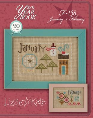 Lizzie Kate - Yearbook Double-Flip - January/February-Lizzie Kate - Yearbook Double-Flip - JanuaryFebruary, calendar, monthly, snowman, house, hearts, cross stitch