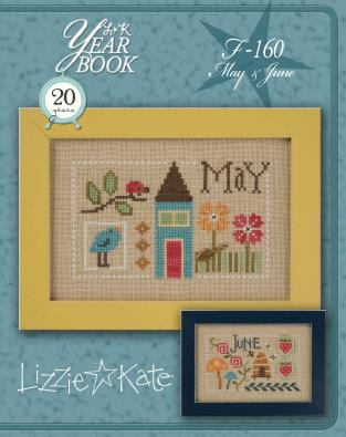 Lizzie Kate - Yearbook Double-Flip - May/June-Lizzie Kate - Yearbook Double-Flip - MayJune, spring, house, beehive, cross stitch