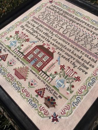 Lindsay Lane Designs - Miss Kelly's School Sampler-Lindsay Lane Designs - Miss Kellys School Sampler, schoolhouse, sampler, historic, children, cross stitch